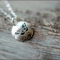 Domed Butterfly Disc Necklace in Sterling Silver