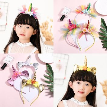 Fashion Cute Unicorn Flower Cat Ears Hairband For Girls Birthday Party Headwear Halloween Lovely Headbands Kids Hair Accessories