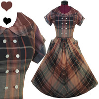 Dress Vintage 40s 50s Brown PLAID Cotton Rockabilly Dress S M Pockets FULL SKIRT Pinup