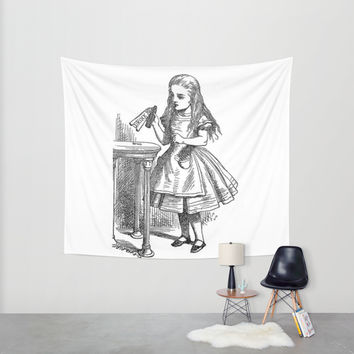 Drink Me vintage Alice in Wonderland emo goth antique book sketch drawing print Wall Tapestry by IGallery | Society6