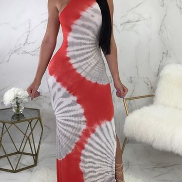 Red Striped Lace-up Halter Neck Backless Side Slit Party Maxi Dress
