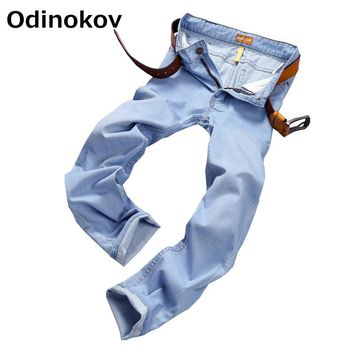 Odinoko Brand  2017 Summer Style  Thin And Light Mens Plus Size Casual Jeans Men Pants Stretch Denim Bluemen's Jeans Men Skinny