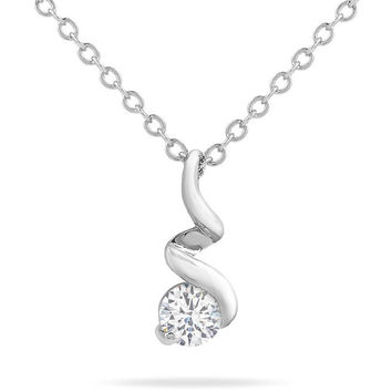 Stella 0.5ct CZ White Gold Rhodium Twisted Solitaire Pendant Necklace