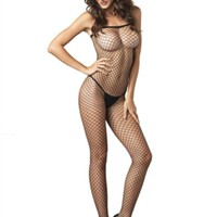 Lycra Industrial Fishnet Bodystocking in BLACK