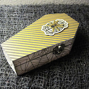 Spooky Spider Wood Coffin Trinket Keepsake Box - Horror Gothic Jewelry Box