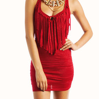 fringe-halter-mini-dress RED - GoJane.com