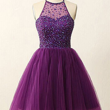 Halter Short Illusion Back Purple Homecoming Dresses