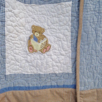 Toddler quilt - Boy - Teddy bear - Baby - Blue and brown - Cherished teddies - Quilts for twins - Homemade