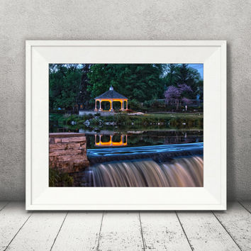 Menomonee River and Dam with Gazebo in Menomonee Falls Wisconsin Photographic Fine Art Print artwork home and office decor - living room art