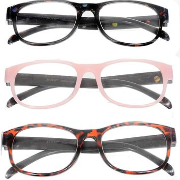Betsey Johnson 3 Pairs Reading Glasses Brown Pink Black Readers