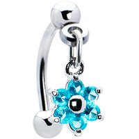 Top Down Blue Gem Dangle Flower Eyebrow Ring | Body Candy Body Jewelry