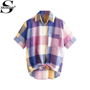 Sheinside Multi Plaid Shirt Casual Cute Blouse 2017 Knotted Hem Lapel Women Summer Tops New Short Sleeve Button Up Pocket Blouse