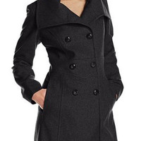 Double-Breasted Turn-Down Collar Long Sleeve Coat