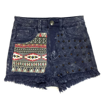 Maisha High Waisted Tribal Studded Shorts