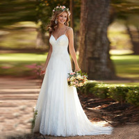 Simple Beach Wedding Dress Spaghetti Straps Plus Size Backless Lace Appliques Bridal Dress Vestido de noiva