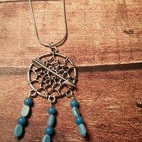 Arrow necklace dreamcatcher necklace country necklace blue necklace dream catcher necklace Indian necklace spiritual necklace boho necklace