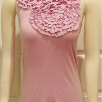 Lavender Top Lavender Tank Purple Top Ladies Top Ruffle Top Flounce Top Size Small Top Business Wear Fashion Top Womens Clothing Modest Top