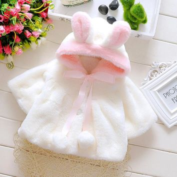 Best Price Baby Girls Sweet Animal Shape Rabbit Winter Warm Jacket Kids Cozy Flannel Clothing Cute Bowknot Jacket Baby Clothing