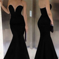Strapless Deep V Neckline Mermaid Sweeping Evening Dress