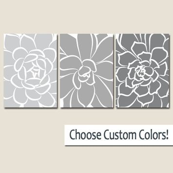 Flower Wall Art, Succulent Flowers, GRAY Ombre CANVAS or Prints Artwork, Gray Bedroom Decor, Gray Bathroom Decor, Set of 3 Floral Wall Decor
