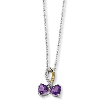 Sterling Silver & 14K Amethyst and Diamond Heart Necklace QG2709