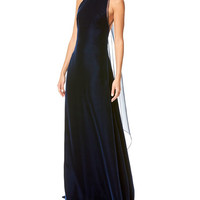 Carolina Herrera Velvet Open-Back Gown with Organza Bow, Navy