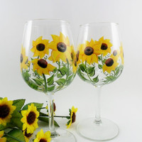 Sunflower Wine Glasses Hand Painted Set of 2