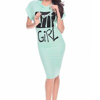 MINT IT GIRL PRINTED KNIT LENGTH HOODED DRESS