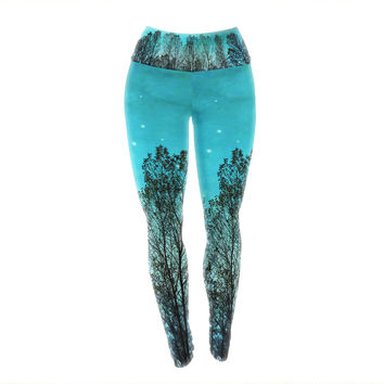 "Sylvia Cook ""Dark Forest"" Blue Trees Yoga Leggings"