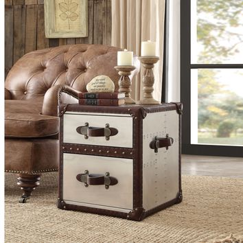 Aberdeen End Table, Vintage Dark Brown Top Grain Leather & Aluminum