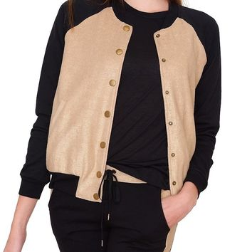 Golden Autumn Bomber Jacket - Gold/Black