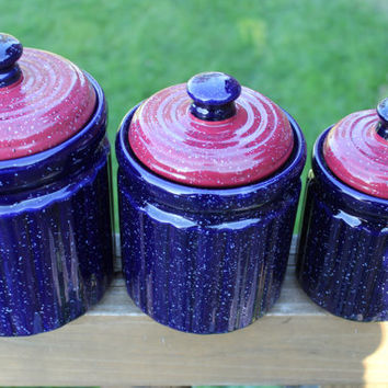 Set Of Vintage Red, White And Blue Ceramic Canisters, Speckled Blue Kitchen  Canister,
