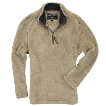 Pebble Pile Pullover 1/2 Zip in Sandstone by True Grit