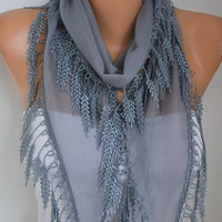 Gray Scarf Spring Summer Scarf Necklace Shawl Cotton Cowl Bridesmaid Gift Gift Ideas For Her Women Fashion Accessories Scarves Mother's Day