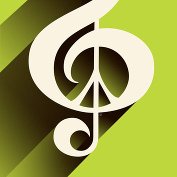 Spring Green Peace, Music, Print, Retro Shadow MP, Music, Peace Sign, Black, Brown, Kiwi, Lime Green, Ivory, Off White, Treble Clef, Musical