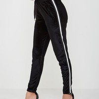 Velour Contrast Stripe Joggers - Black/White