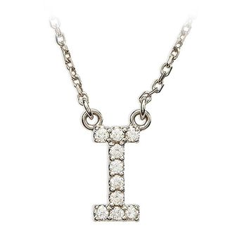 1/10 Cttw Diamond & 14k White Gold Block Initial Necklace, Letter I