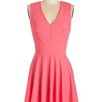 ModCloth Mid-length Sleeveless A-line Sunny Skies Ahead Dress in Pink