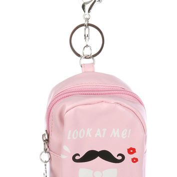 Look At Me Fancy Mustache Backpack Pouch Key Chain
