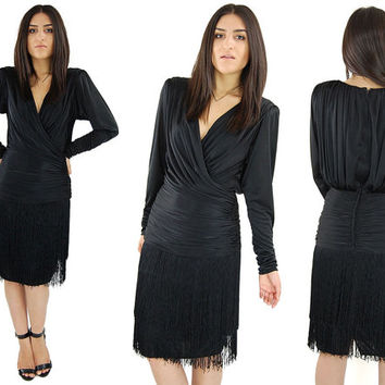 Vintage Black TADASHI Silky Draping V-Neck Midi Body Con Flapper Fringe Dress / Medium
