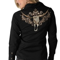 Roper Women's Black with Tan Embroidered Longhorn Long Sleeve Western Shirt