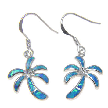 INLAY OPAL HAWAIIAN PALM TREE WIRE HOOK EARRINGS SOLID 925 STERLING SILVER