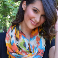 Ikat Print Infinity Scarf - Orange and Lime