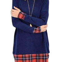 Plaid Splice Navy Long Sleeve Tunic Top