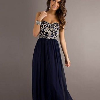 Custom made navy blue chiffon prom dress/floor length long bridesmaid dress/sweetheart beading long prom dresses/short prom dress