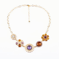 Five Gem Stone Flowers Necklace