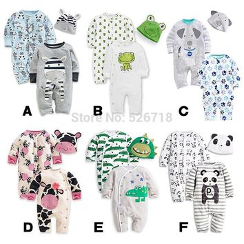 3Pcs/Set, Cute Animal Baby Rompers + Hat. Sizes 12 To 24 Months