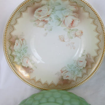 Victorian Romantic Roses for the Lady of the House Bavarian China Lg Bowl Rose Bowl Fine China