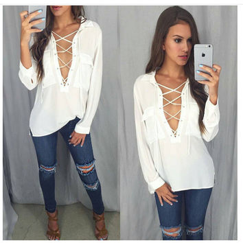 Summer V-neck White Chiffon Shirt [8096397575]