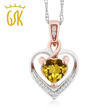 10K White Gold Citrine and Diamond Heart Shape Pendant Necklace 18""
